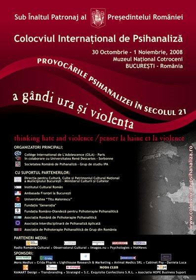 """Conferinţă de presă despre Colocviul Internaţional """"Provocările psihanalizei în secolul XXI: A gândi ura şi violenţa"""""""