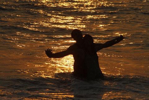 A couple at a beach in Goa.