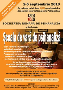 Şcoala de vară de psihanaliză, Mamaia, 2-5 septembrie 2010