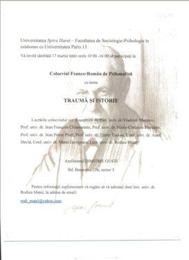"""Colocviu franco-român de psihanaliză """"Traumă şi istorie"""", Bucureşti, 17 martie 2012"""