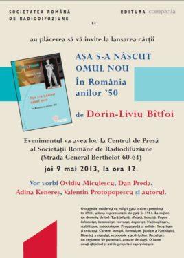 """Asa s-a nascut omul nou"" de Dorin-Liviu Bîtfoi se lanseaza la Sala Radio, joi, 9 mai, ora 12"