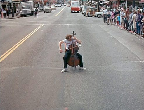 Woody Allen playing cello